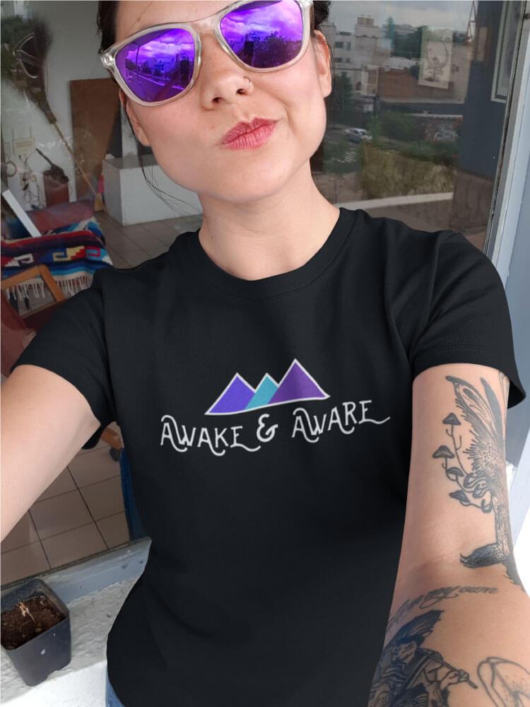 AwakeNAware.com-Awake-&-Aware-Selfie-Girl-Wearing-a-Philosophers-Stone-T-Shirt