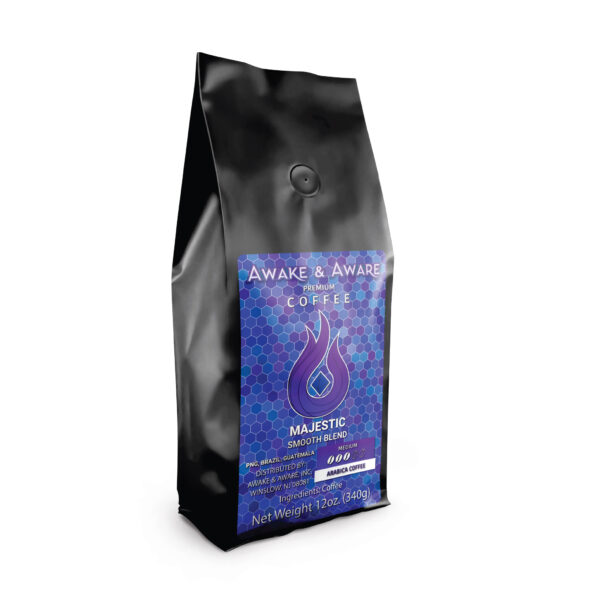 Awake-&-Aware-Majestic-(PNG,-Brazil,-Guatemala)-12oz-Blend-Coffee-Bag-With-Label-1