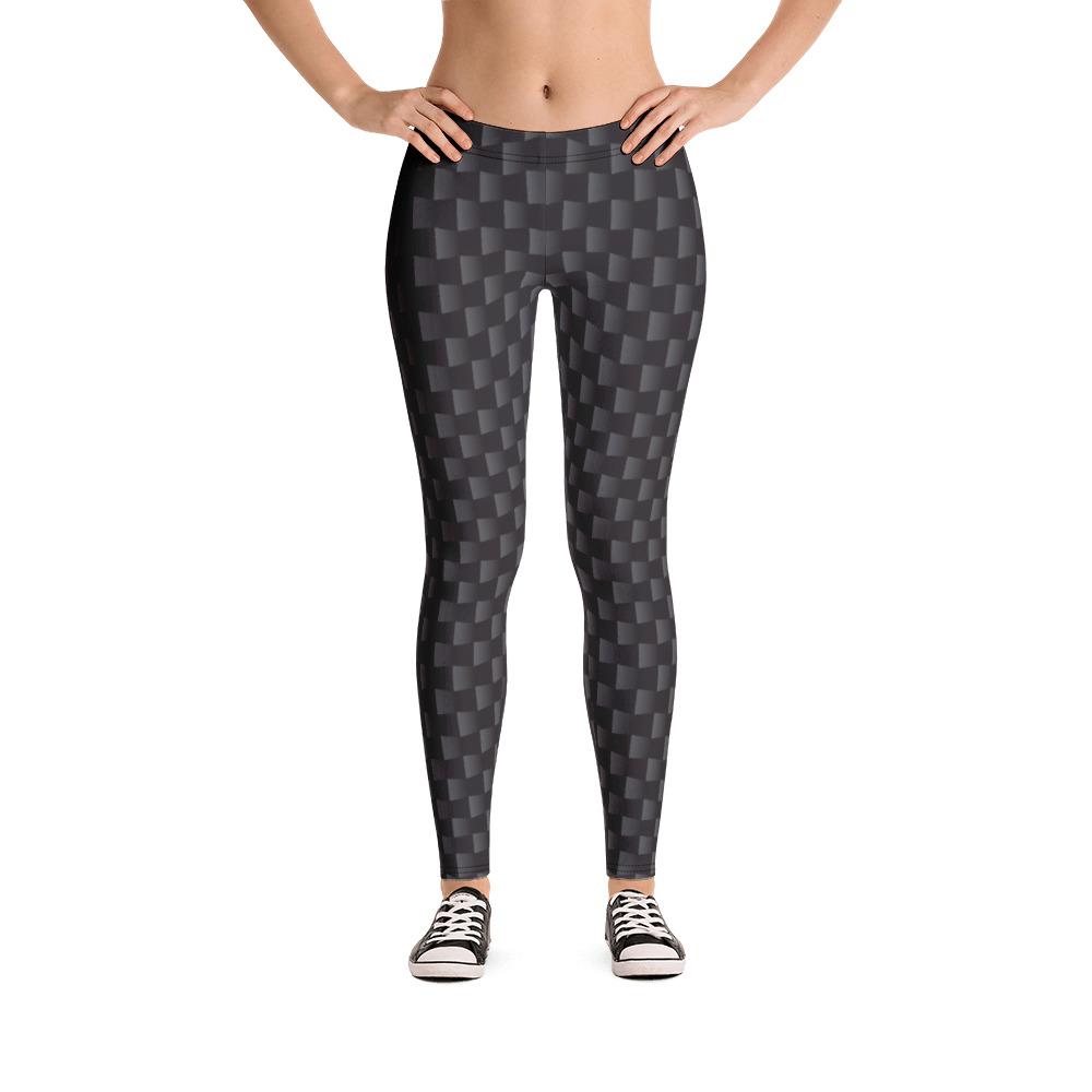 AwakenAware.com Awake & Aware Women Wearing Carbon Fiber Print leggings and sneakers