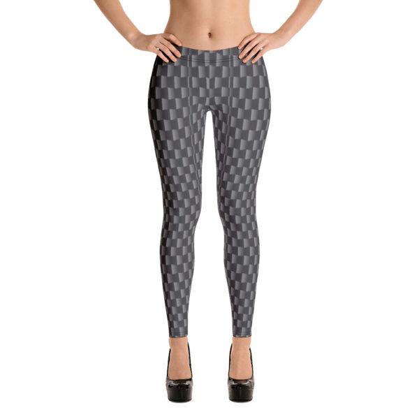 AwakenAware.com Awake & Aware Women Wearing Carbon Fiber Print Leggings and Heels