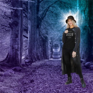 AwakeNAware.com-Awake-&-Aware-Just-Be-Tee-Women-on-Road-covered-with-leaves-in-the-forest