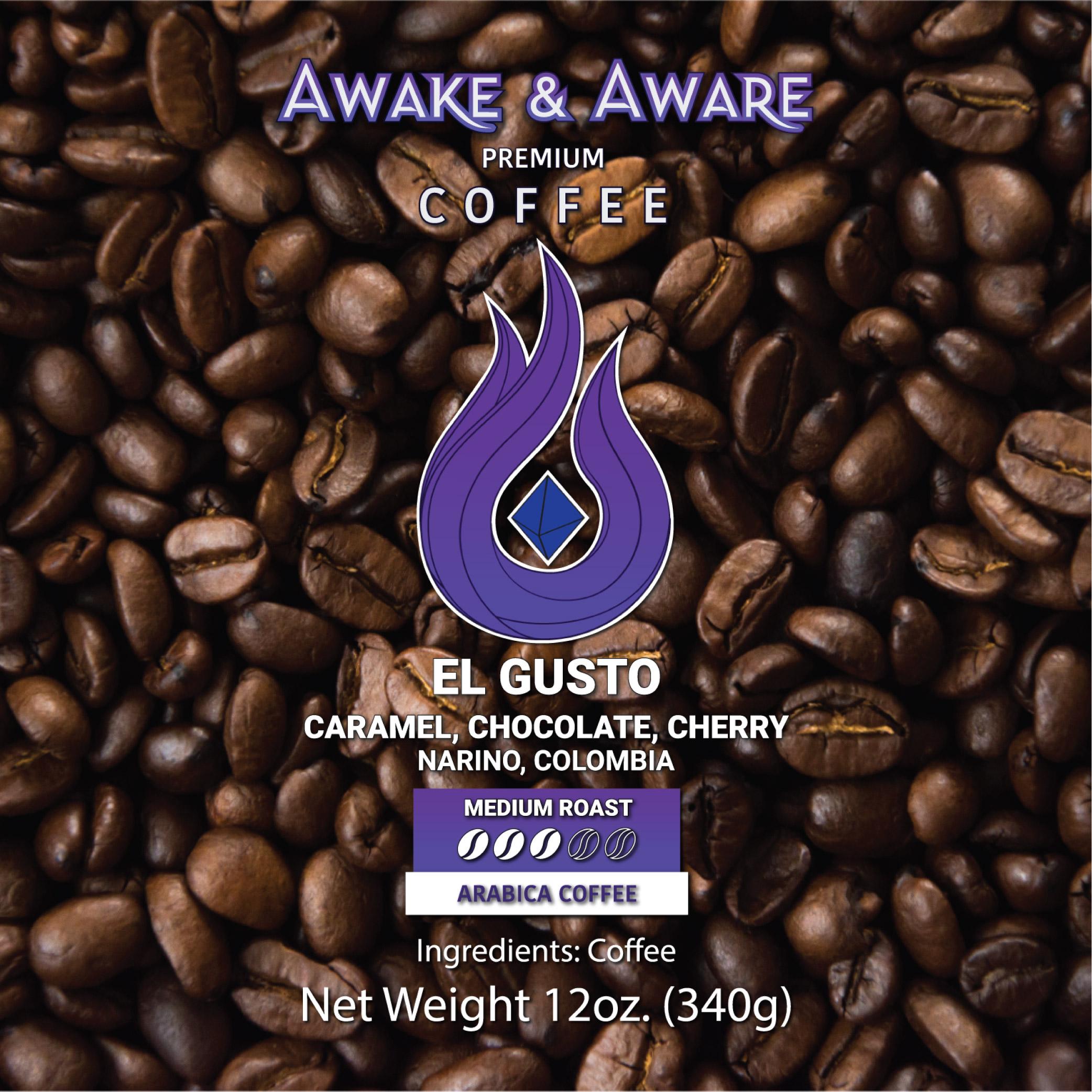 Awake-&-Aware-El-Gusto-(Narino, Columbia)-12oz-Single-Origin-Coffee-Beans-With-Clear-Label