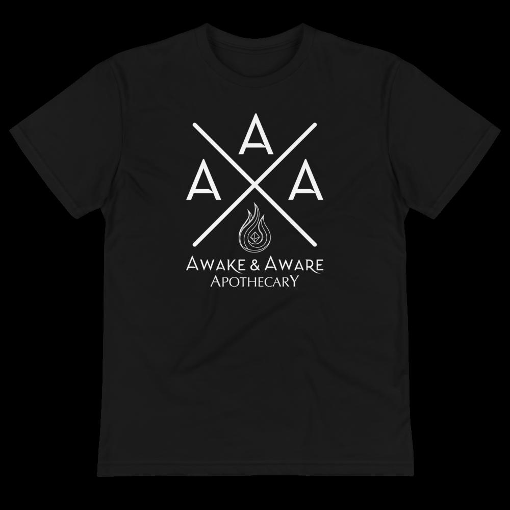 AwakenAware.com-Awake--Aware-Apothecary-Triple-A-(AAA)-Eco-Conscious-Unisex-Tee_unisex-eco-tee-black-front-60d628f7bd6dd
