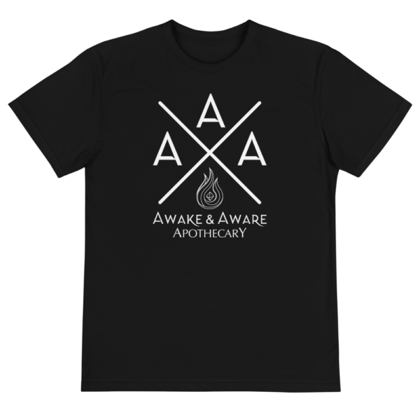 AwakenAware.com-Awake--Aware-Apothecary-Triple-A-(AAA)-Eco-Conscious-Unisex-Tee_unisex-eco-tee-black-front-60d62a9c82d03